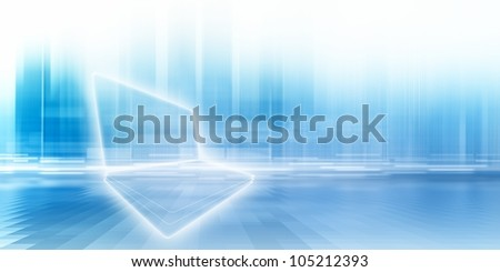 Abstract PC, netbook on blue background with bright lights. - stock photo