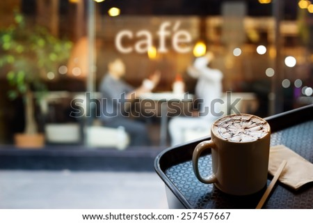 Abstract people in coffee shop and text cafe in front of mirror, soft and blur concept - stock photo