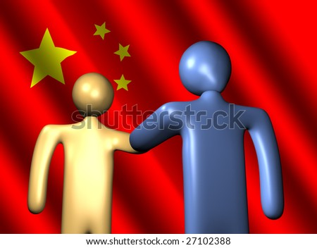 abstract people shaking hands with Chinese flag illustration - stock photo