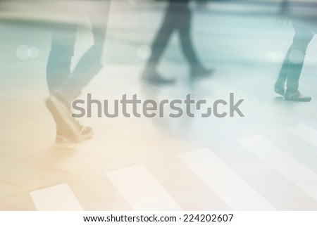 abstract people street walk in the city, pastel and blur concept - stock photo