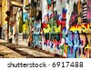 Abstract perspective of graffiti building - stock photo