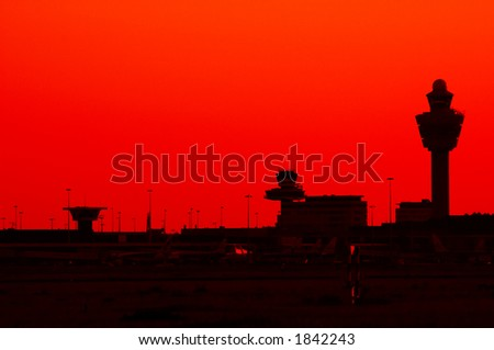 abstract photo of an airport silhouette - stock photo