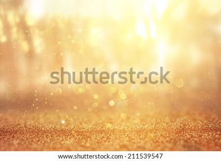 abstract photo of light burst among trees and glitter bokeh lights. image is blurred and filtered .  - stock photo