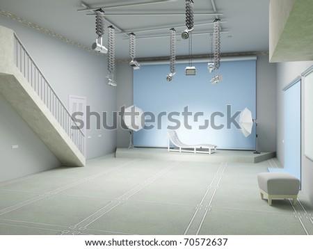 Abstract photo studio with lighting equipment. 3d graphics - stock photo