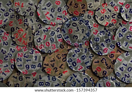 Abstract photo with coins and figures - stock photo