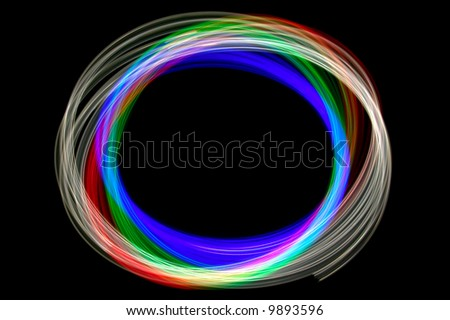Abstract physiogram light image using three different colour filters. - stock photo