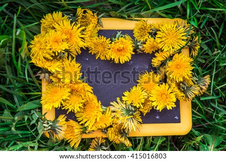 Abstract picture.Natural background. Dandelions heart on blackboard with grass. - stock photo
