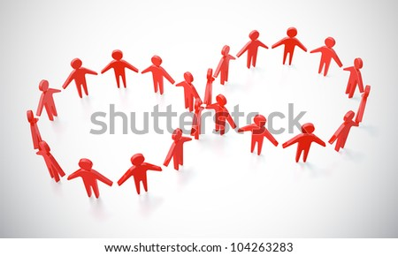 Abstract picture of people running in symbol of infinity - stock photo