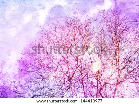 abstract picture - tree on a batik background - stock photo