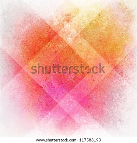 abstract pink background or orange yellow background on white, old warm stain spot vintage grunge background texture on colorful plaid art background block layout design, multicolor background paper - stock photo