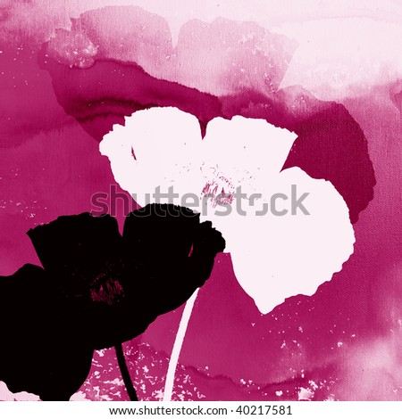 Abstract pink floral design with poppy silhouette - stock photo