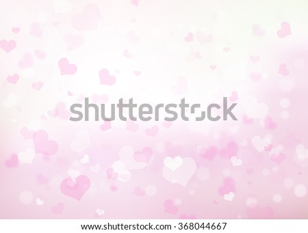 Abstract pink heart bokeh background. Heart Love Corazones Wallpaper Backdrop Blur Blurred Light White Gray Glowing February Day Happy Card Valentine Pastel lens Web Group Soft Blurry Lens Rays View - stock photo