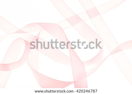abstract pink ribbon background isolated on white  - stock photo