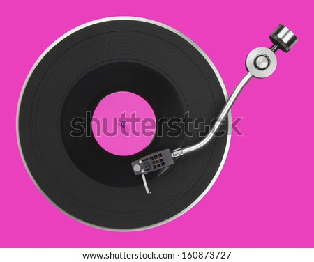 Abstract pink turntable - stock photo