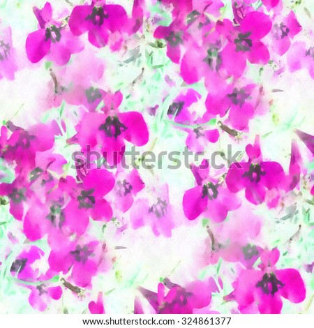 abstract pink watercolor flowers - seamless fabric pattern - stock photo