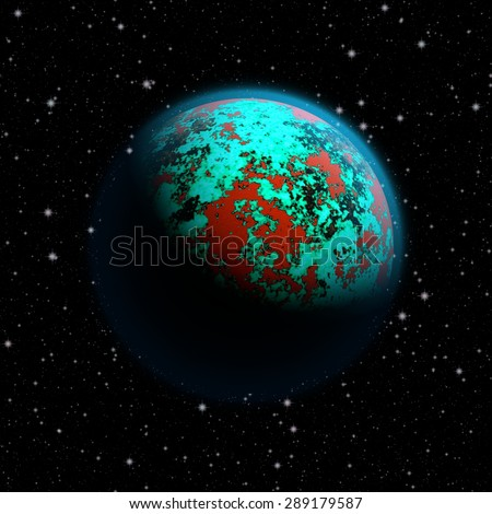 Abstract planet Earth with blue atmosphere, toxic oceans and red flooded continents. Full HD video also available.  - stock photo