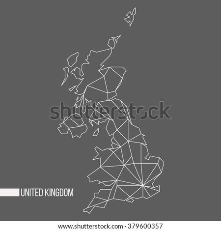 Abstract polygonal geometric United Kingdom, England, Scotland, Wales, Northern Ireland minimalistic map isolated on grey background - stock photo