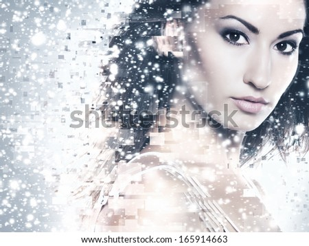 Abstract portrait of young and beautiful woman over the winter background - stock photo