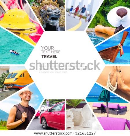 abstract postcard symbols of travel - stock photo