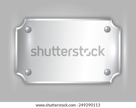 abstract precious metal silver award plate with curved corners, screws and place for text - stock photo