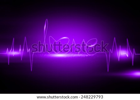 Abstract purple Love beat background - stock photo