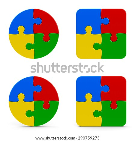 Abstract puzzle pieces isolated on a white background, three-dimensional rendering - stock photo