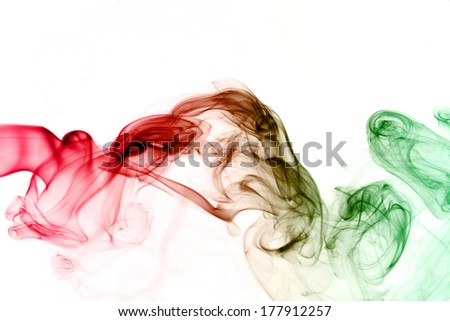 Abstract  rainbow color smoke on white - stock photo
