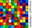 Abstract rainbow colorful tiles mosaic painting geometric palette pattern background 3 - stock photo