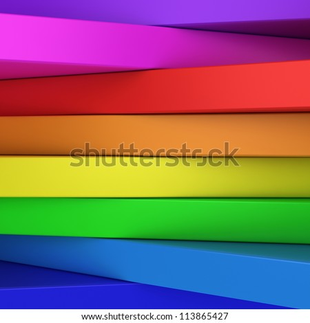 Abstract rainbow-coloured panels with copyspace for text OR just vibrant 3D background - stock photo