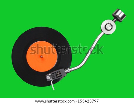Abstract record player part isolated on grey - stock photo