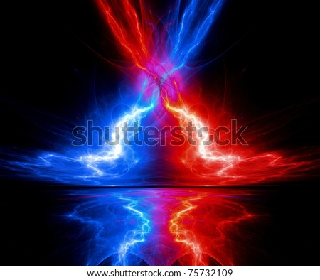 abstract red and blue lightning with reflection - stock photo