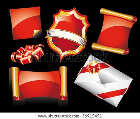 Abstract Red and Gold Set of Christmas Design Elements - stock photo