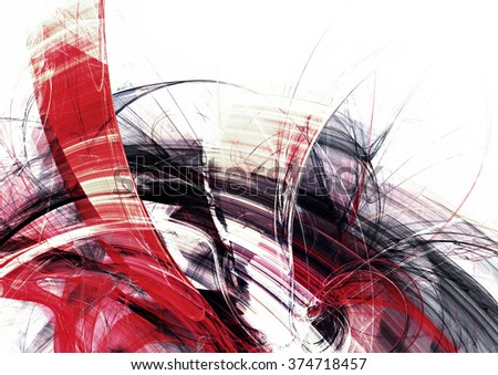 Abstract red and grey motion composition. Modern bright futuristic dynamic background for cover booklet, poster, banner. Fractal art for creative graphic design - stock photo