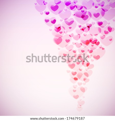 Abstract red and pink glowing heart shaped lights.  - stock photo