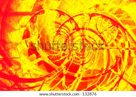 Abstract red and yellow spiral - stock photo