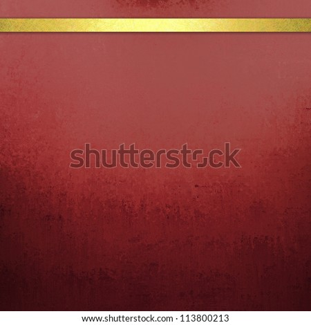 abstract red background with elegant gold ribbon stripe banner for web template background or brochure ad of dark black vintage grunge background texture design on border of distressed grungy gradient - stock photo
