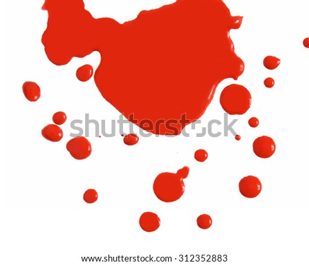 Abstract red blood drops on white background. Close up - stock photo