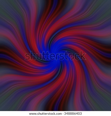Abstract red blue fractal twirl with smooth satin waves and bright blue center - stock photo