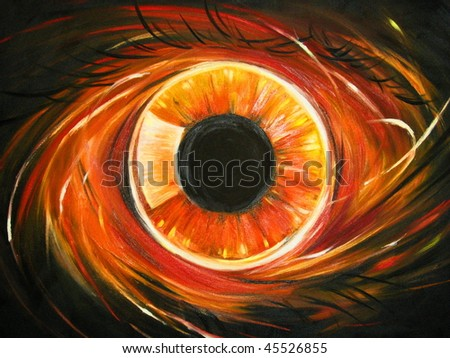 Abstract red eye oil painted.Picture I have created myself. - stock photo