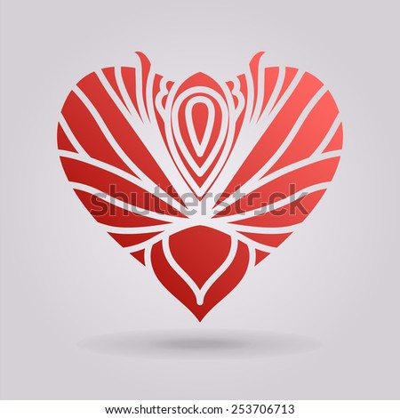 Abstract red floral heart. The illustration on gray background - stock photo