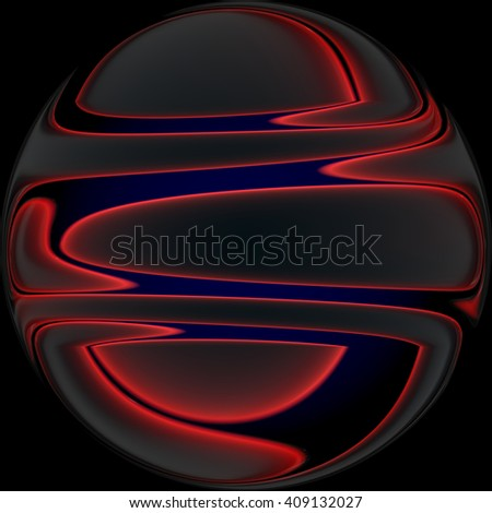 Abstract red glow 3d sphere, digital illustration art work. - stock photo
