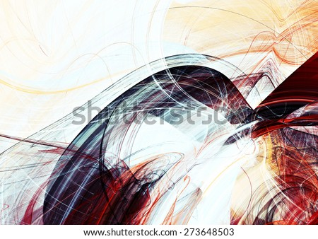 Abstract red, grey and white motion composition. Modern bright futuristic dynamic background for wallpaper, interior, flyer cover, poster, banner, booklet. Fractal art for creative graphic design. - stock photo