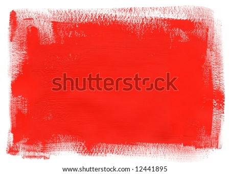 Abstract red paint on white background. Framework with place for your image or text.Art is painted by photographer. - stock photo