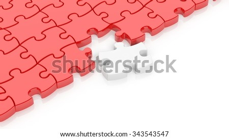 Abstract red puzzle pieces background  with one white and copy-space. - stock photo