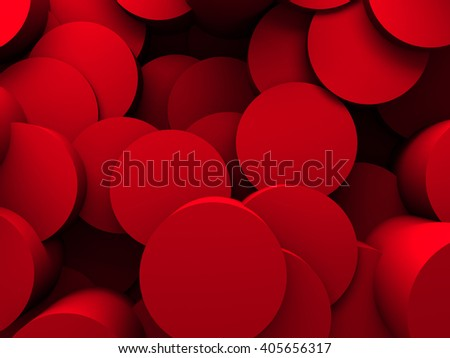 Abstract Red Round Pattern Wall Architecture Background. 3d Render Illustration - stock photo