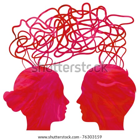 Abstract red silhouette of couple heads thinking, relationship concept - stock photo