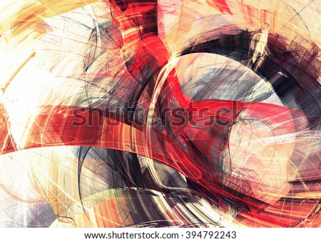 Abstract red, yellow and grey motion composition. Modern bright futuristic dynamic background for cover booklet, poster, banner. Fractal art for creative graphic design - stock photo