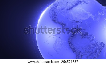 abstract reflective and refractive glass earth globe with surface relief - stock photo