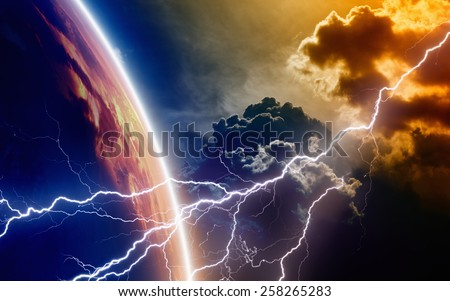 Abstract religious background - lightning from red stormy sky strikes planet Earth, end of world. There were not used NASA images. - stock photo
