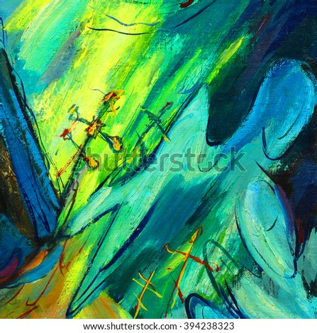 abstract religious paintings with angels oil on canvas, illustration - stock photo
